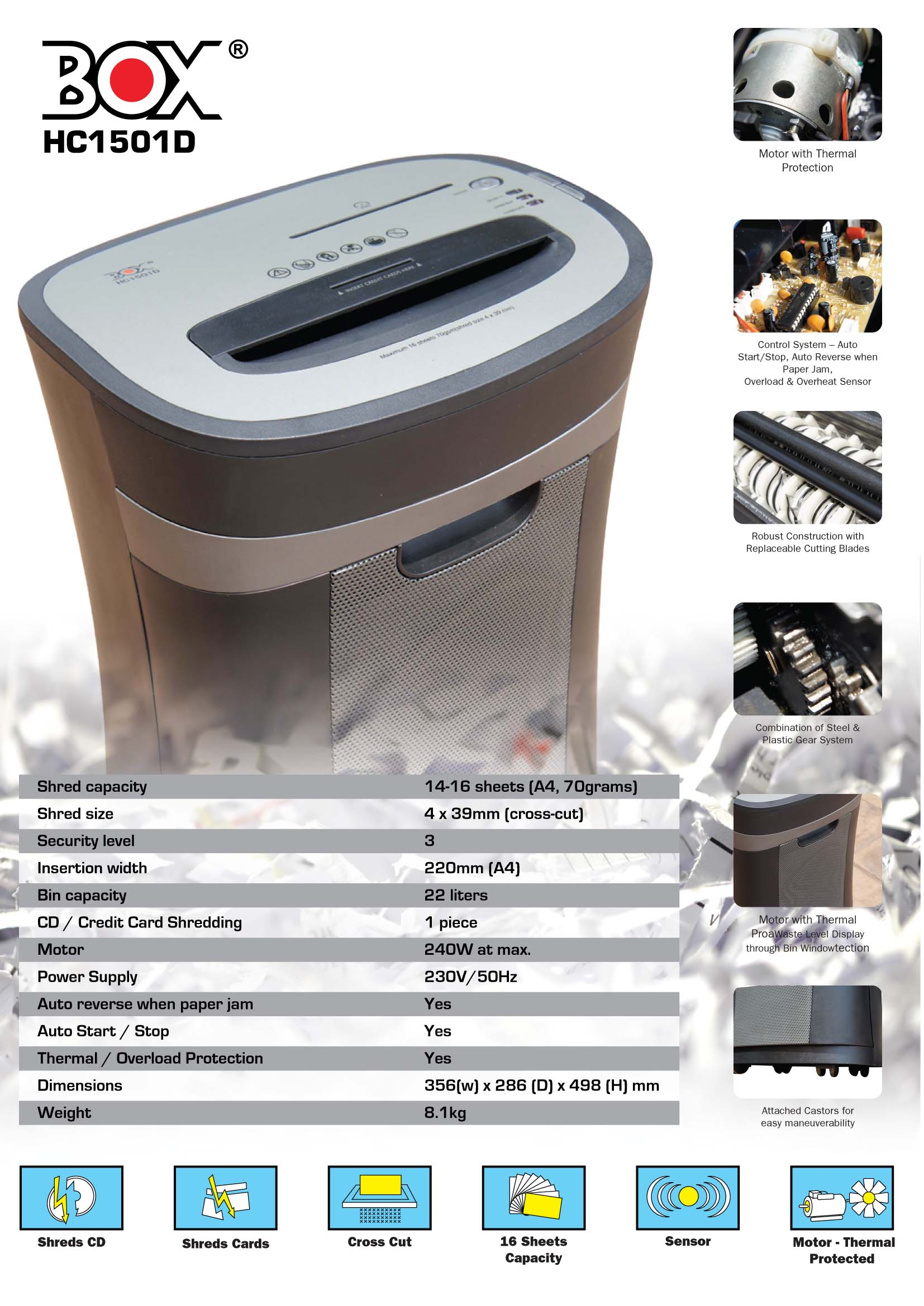 Box Paper Shredder Hc1501d Equest Store