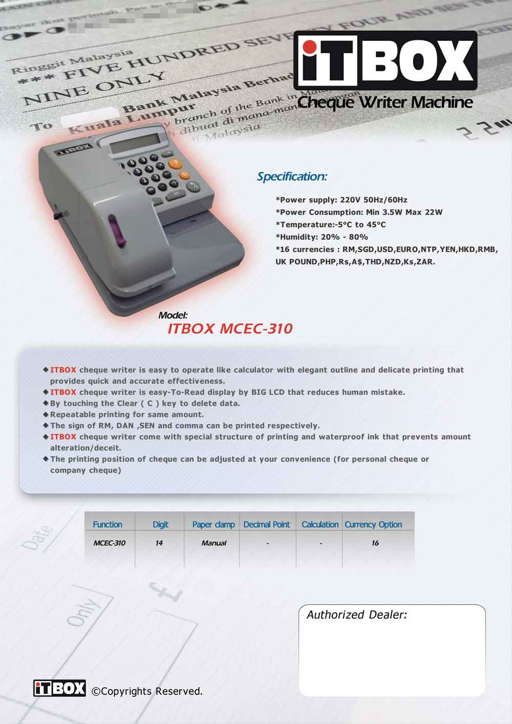 Itbox Cheque Writer Machine Mcec 310 Equest Store